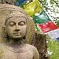 Buddhafield Buddha - marking the entrance to the Buddhafield land at Broadhembury in Devon